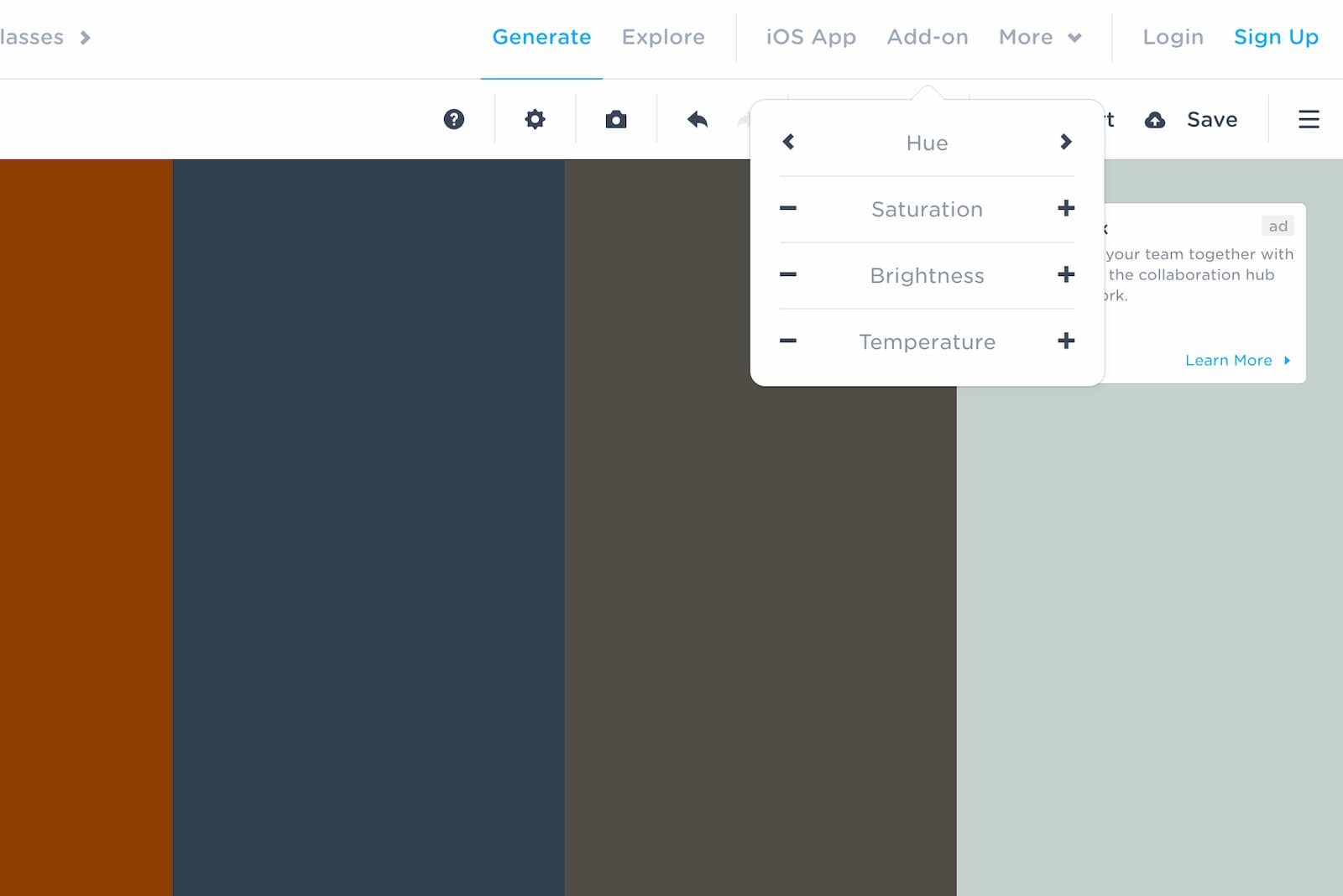 Customize the colour palette with different settings